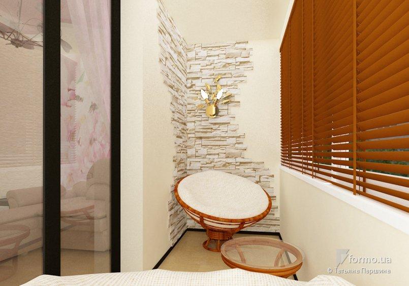 Дизайн балкона белым кирпичом..